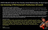 PERTH BLUES CLUB Live Screening of Phil Emmanuel's Posthumous CD Launch